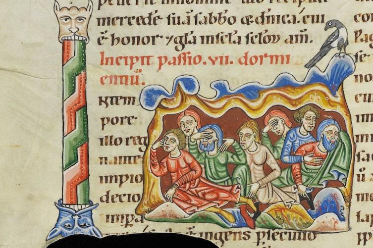 Die sieben Schläfer von Ephesus, Illumination im Weißenauer Passionale, um 1170 (Bild: Wikimedia Commons)