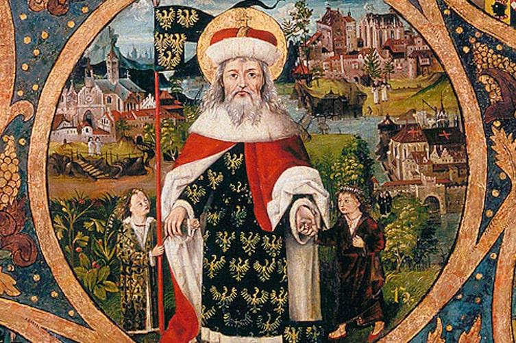 Leopold III. der Heilige vor Klosterneuburg, Babenberger Stammbaum, um 1490, Stift Klosterneuburg (Foto: Mauritius Images)