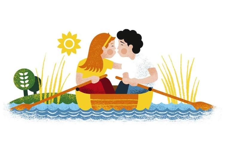 Ruderboot, Liebespaar, Bootsfahrt, Illustration, Mundart, Donau
