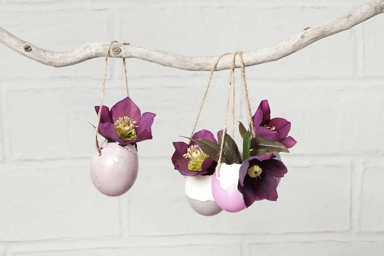 Deko, Eierschalen, Vasen, Blumen