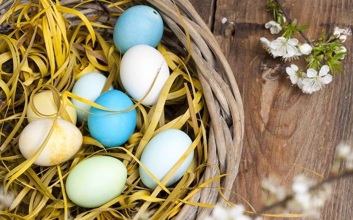 Ideen für Osternester, bunte Eier, Ostereier, Osternest