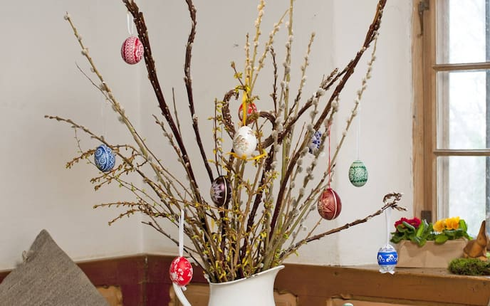 Ostern, Osterstrauch, Deko, Ostereier, Ostertisch