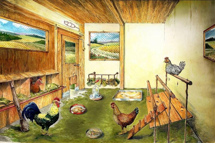 Garten, Tiere, Hühner, Hühnerstall, Illustration