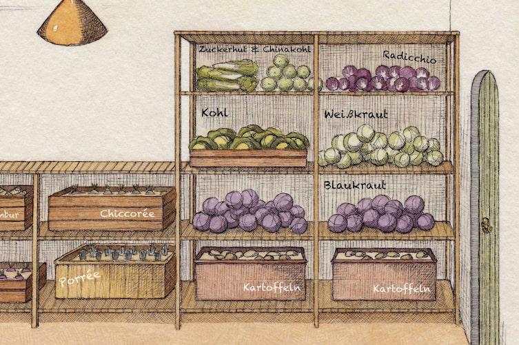 Optimal gelagertes Gemüse im Erdkeller. (Bild: Julia Lammers)