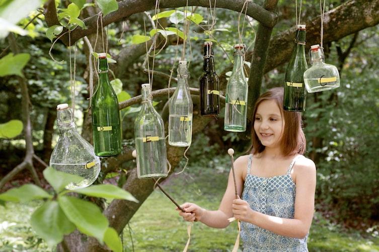 Glockenspiel, Xylophon, Flaschenxylophon, Basteln mit Kindern, Instrument, Servus Kinder
