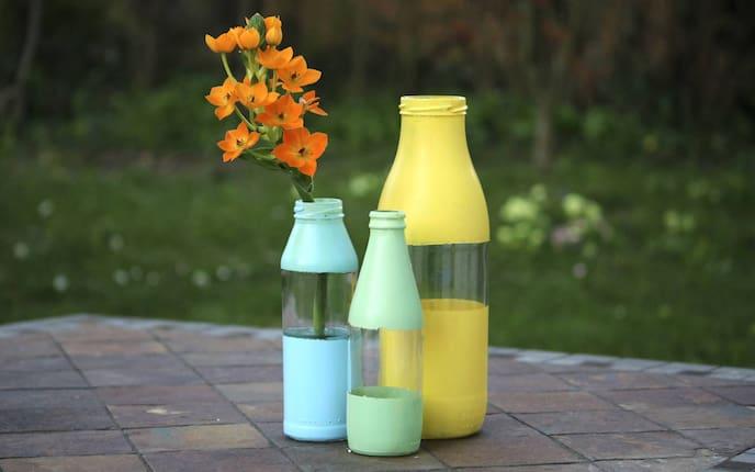Blumenvasen, Glasflaschen, Lack