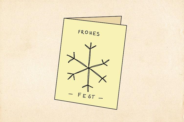 Weihnachtskarte mit Nadel und Faden verzieren (Illustration: Anna Schober)