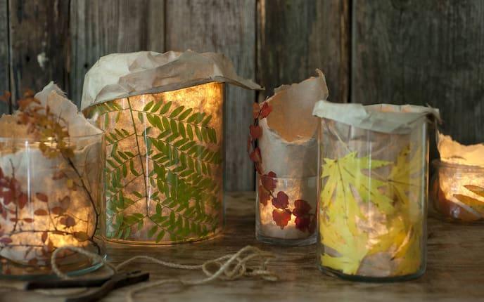 Dekorieren mit Herbstlaub, Windlichter, Basteln, DIY