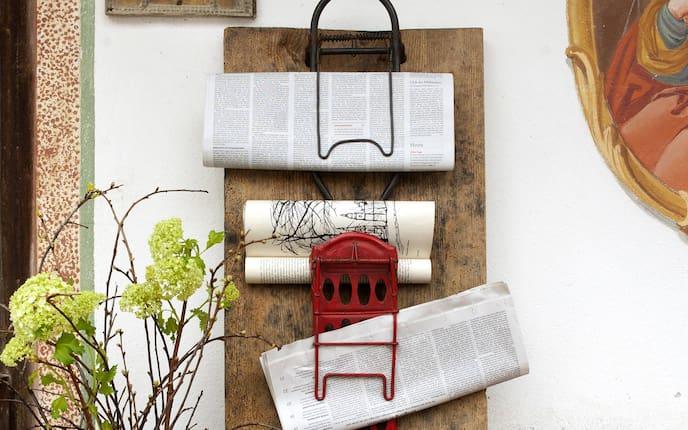 Selbermachen, Basteln, Fundstück, Gepäckträger, Zeitungshalter