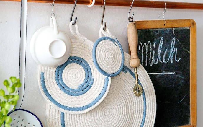 Untersetzter, Baumwollseil, selber nähen, Deko, DIY, dekorieren