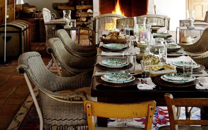 Wohnen, Hausbesuch, Tisch, Gedeck, Feuer, Kamin