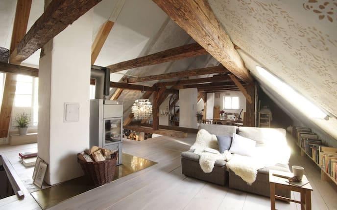 Wohnen, Hausbesuch, Weberhaus, Galerie, Wohnzimmer