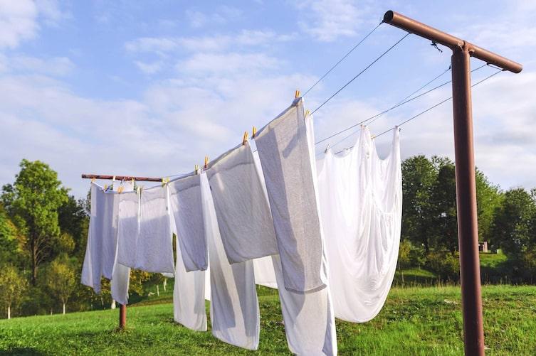 Wäsche, Wäscheleine, draußen, Wiese, Haushalt