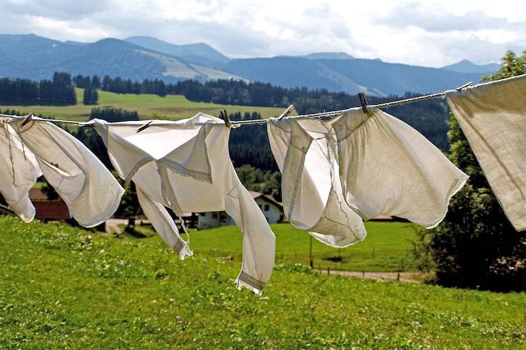 Wäsche, Wäscheleine, Sommer, Lavendel, trocknen, guter Duft