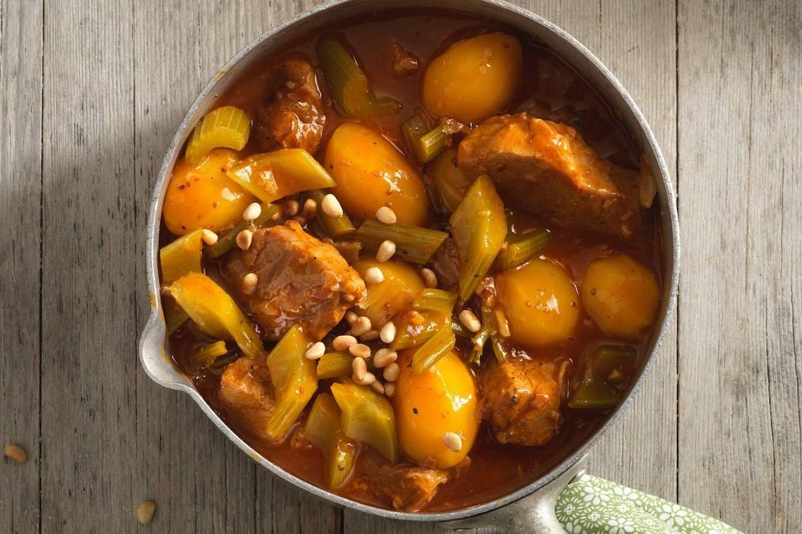 Kartoffel, Kalbfleisch, Stangensellerie, Eintopf, Ragout