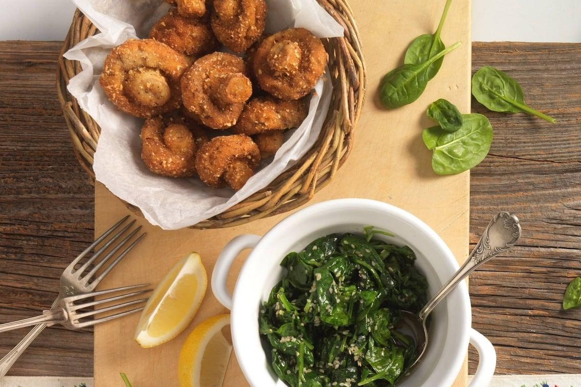 gebackene Champignons, Panier, Blattspinat, Sesam, Zitrone, Hauptspeise, Servus Rezept