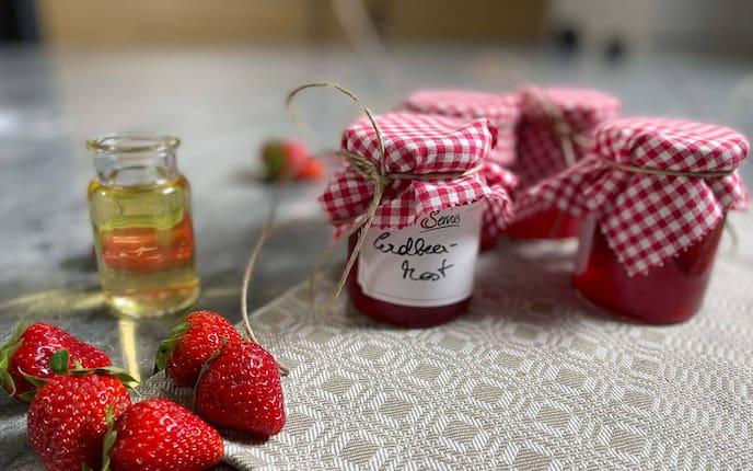 Erdbeeren, Marmelade, Most, Erdbeermarmelade, Erdbeerglas