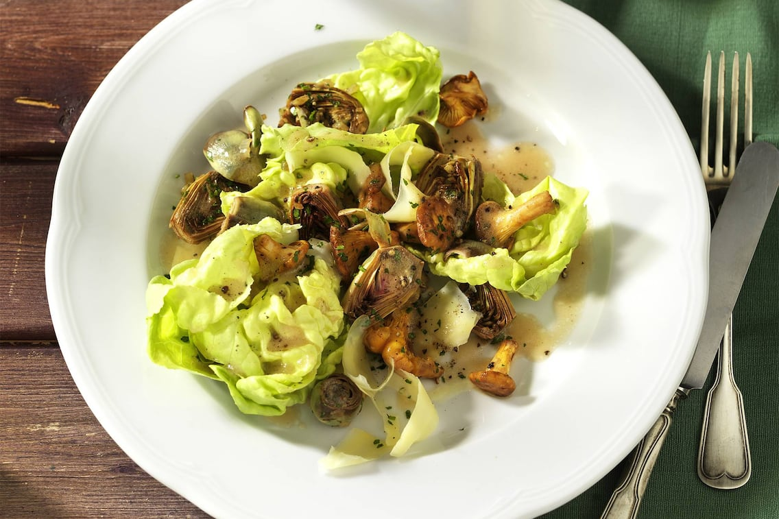 Artischocken, Eierschwammerl, Salat, Bergkäse, Rezept
