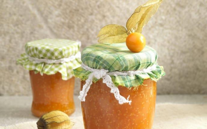Physalis-Marmelade, Marmeladengläser, Marmelade, Eingemachtes, Servus Rezept
