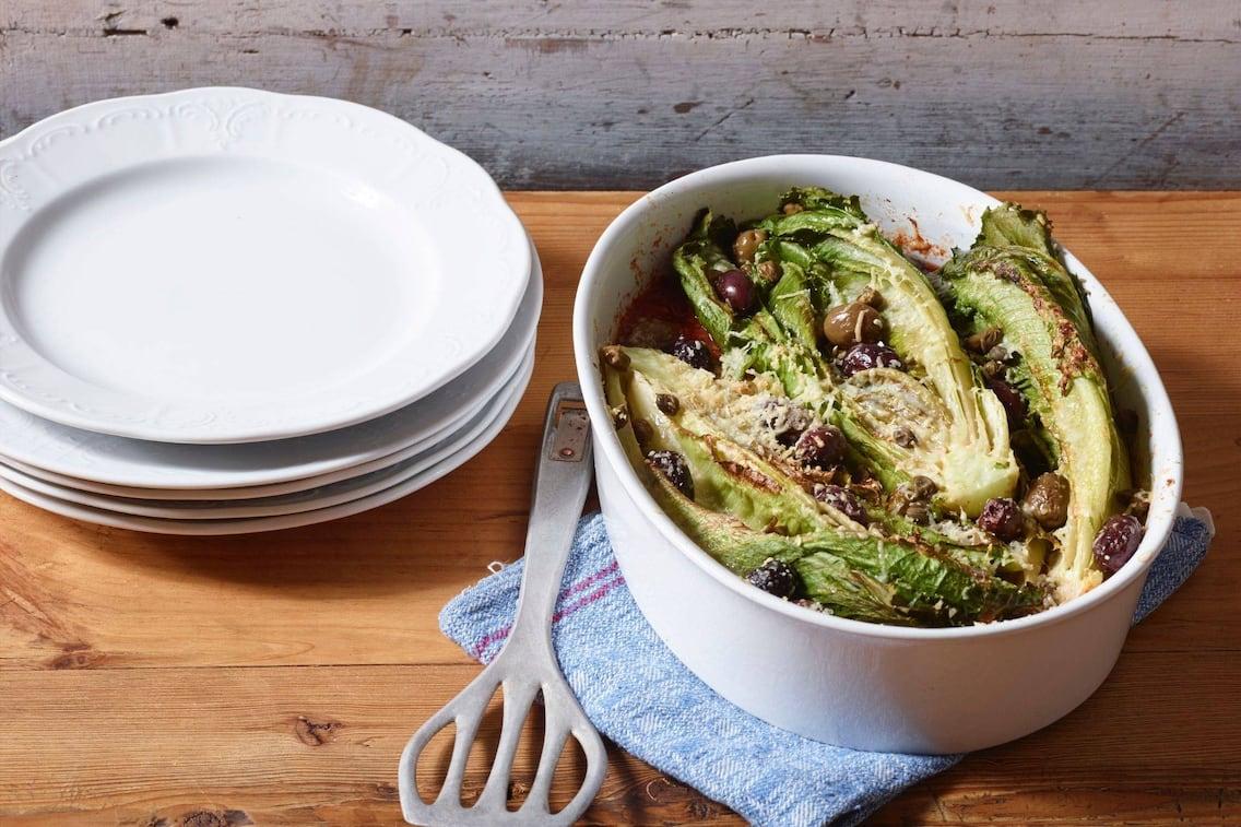 Kochsalat, Oliven, Romanasalat, Beilage, vegetarisch, Servus Rezept