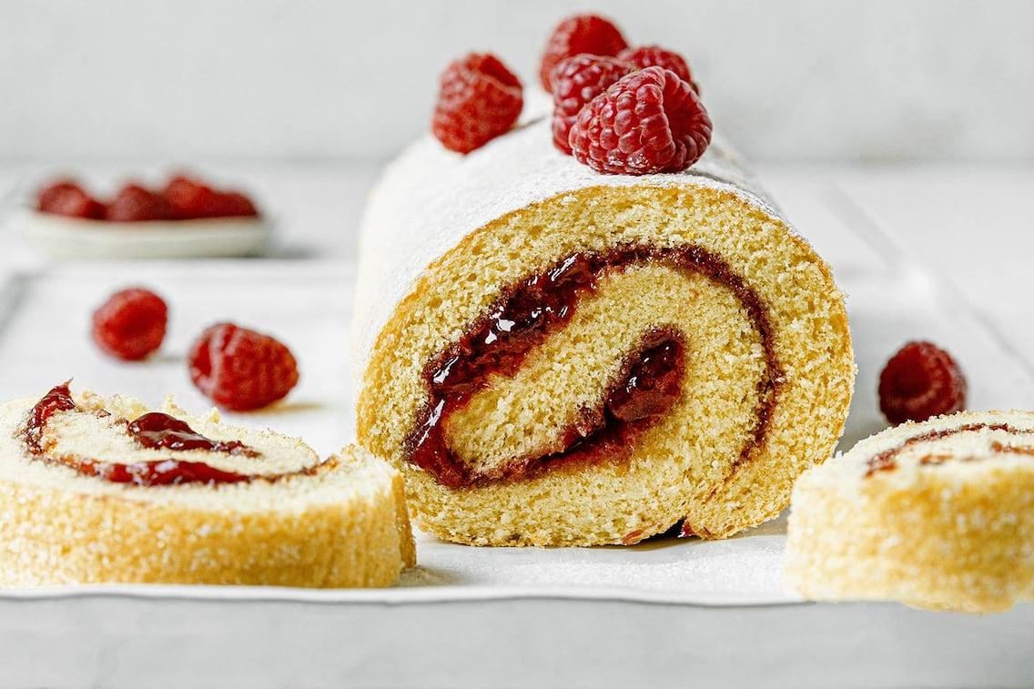 Biskuitroulade, Himbeerroulade, Obstkuchen, Christina Bauer, Marmelade