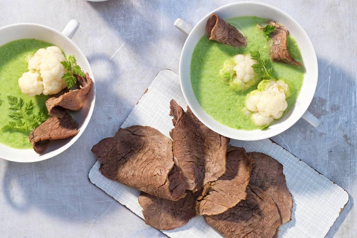 Erbsensuppe mit Tafelspitz, Suppe, Rind, Rindfleisch, Karfiol, Suppenrezept, Servus Rezept