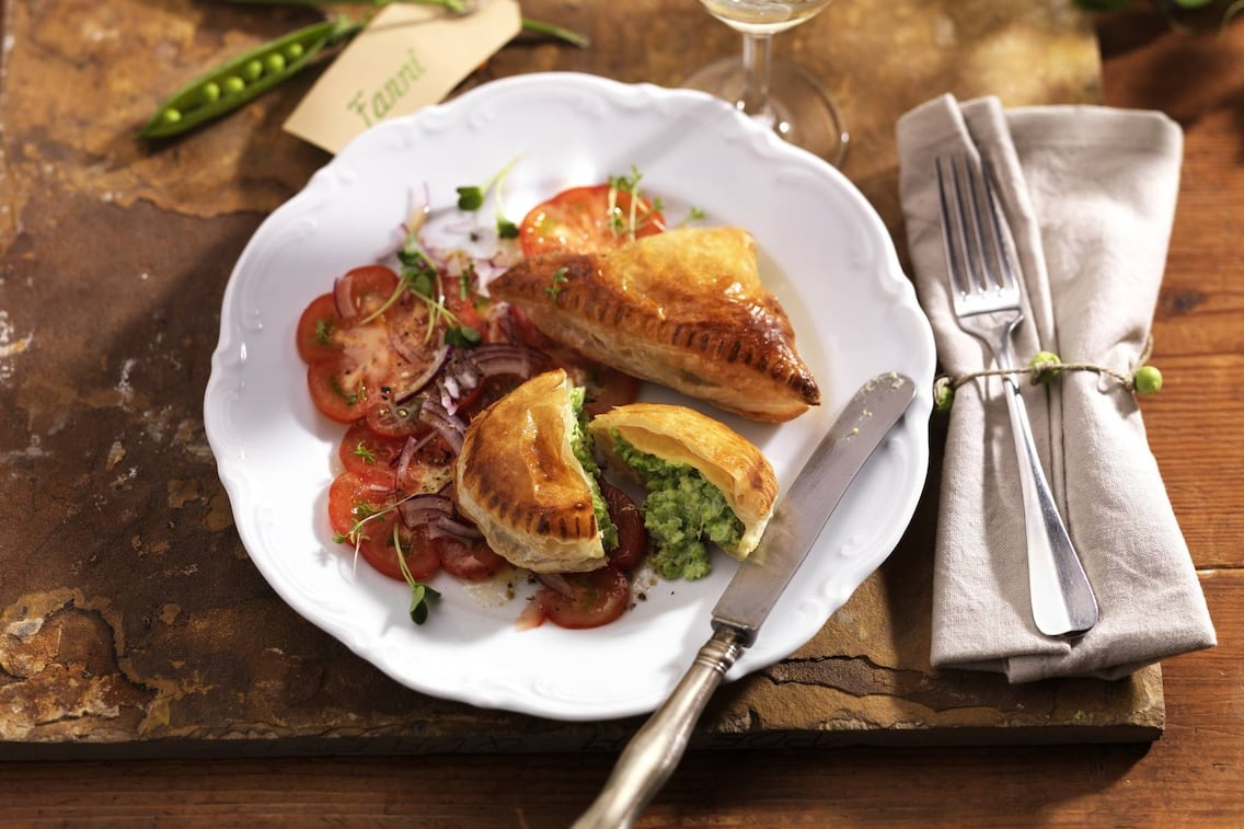 Erbsentascherl, Blätterteigtaschen, vegetarische Teigtaschen, Teigtaschenrezept, Servus Rezept