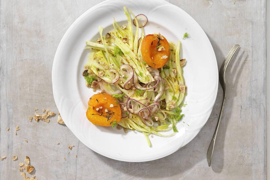 Fenchelsalat, Fenchel, Marillen, Zwiebel, Salat, Salatrezept, Rezept, Servus Rezept