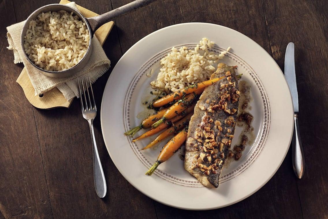Forelle, Haselnussbutter, Karotten, Rezept, Reis