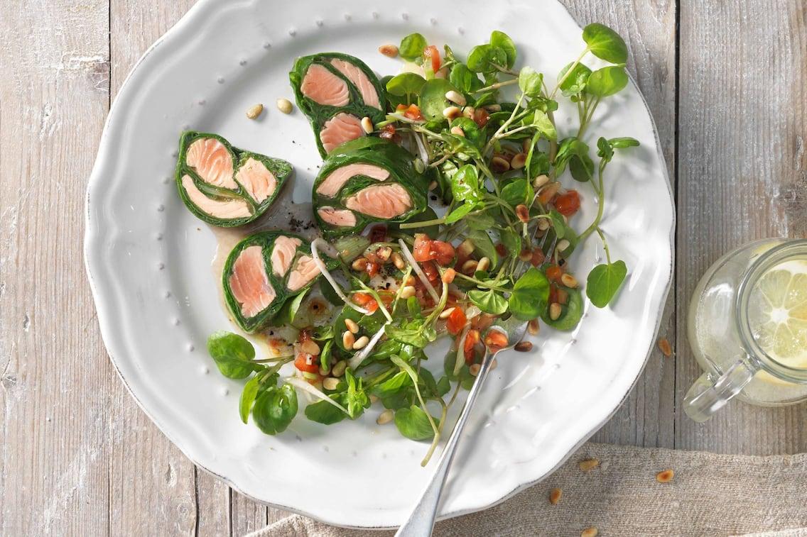 Forelle, Spinat, Brunnenkresse, Salat, Rezept