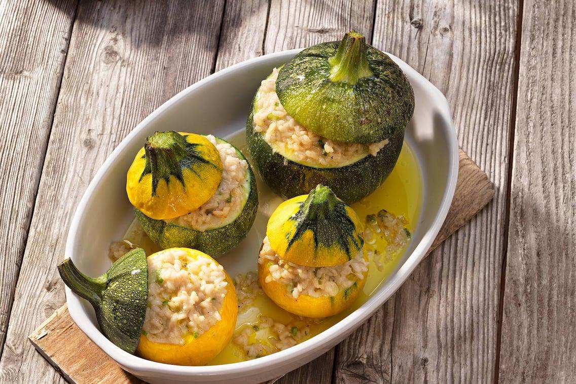Kugelzucchini, Zwiebelreis, Rezept, vegetarisch