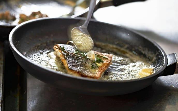 Pfanne, Bodensee-Egli, Fisch, Löffel, Zitrone