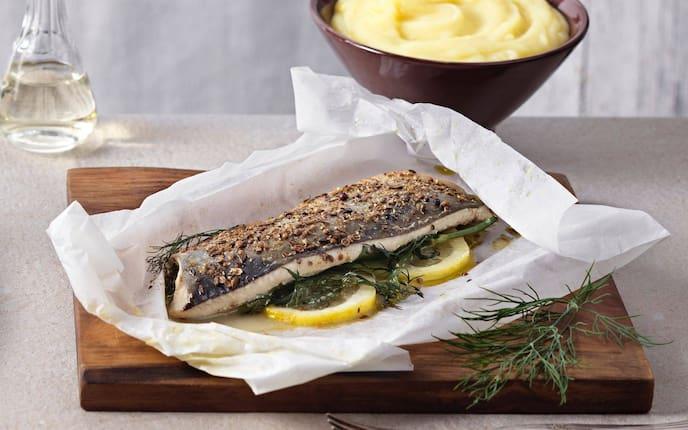Fischfilet, Dille, Zitronenscheiben, Essig, Erdäpfelcreme, Kartoffelcreme, Hauptspeise, Fisch, Servus Rezept