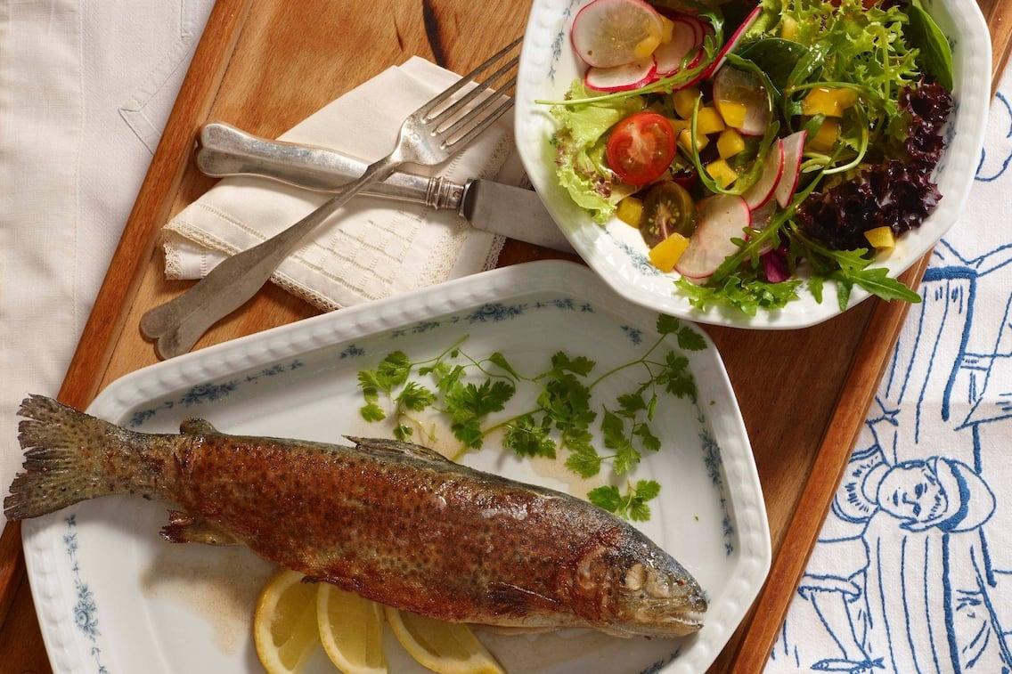 Gemischter Salat, Tomaten, Riedschen, Mais, grüner Salat, Petersilie, Zitronenspalten, gebratener Fisch, Forelle, Hauptspeise, Servus Rezept
