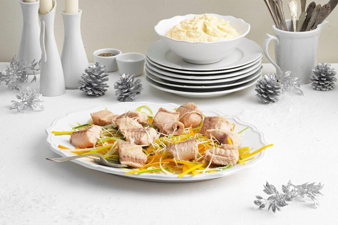Fischstücke, Wurzelgemüse, Selleriepüree, Weihnachten, Festessen, Hauptspeise, Fisch, Servus Rezept