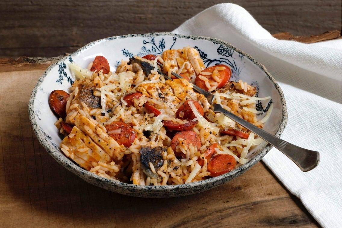 Würstel, Fisch, Reis, Pfanne, Eintopf, Fischrezept, Hauptspeise, Servus Rezept