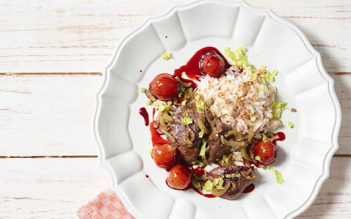 Leber, Schalotten, Rote Rüben, Reis, Hauptspeise, Servus Rezept