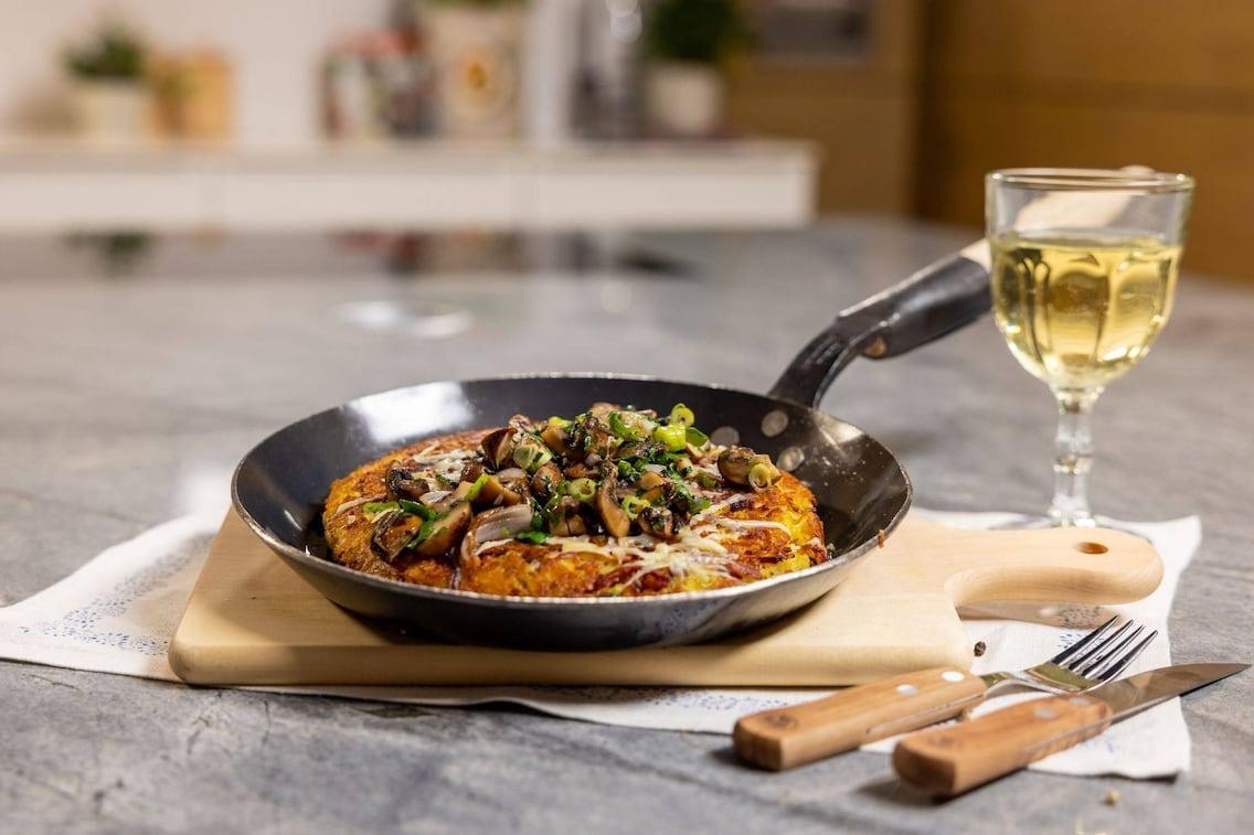 Rösti, Frühlingszwiebel, Pilze, Speck, Weisswein, Hauptspeise