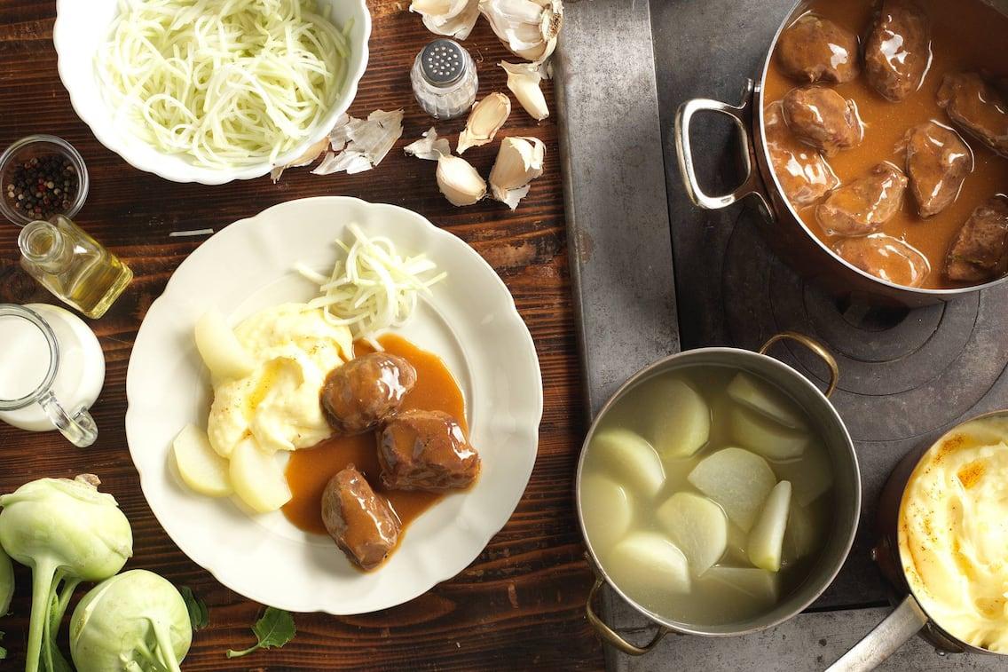Schweinsbackerl, Kartoffel, Karfiol, Hauptspeise, Servus Rezept