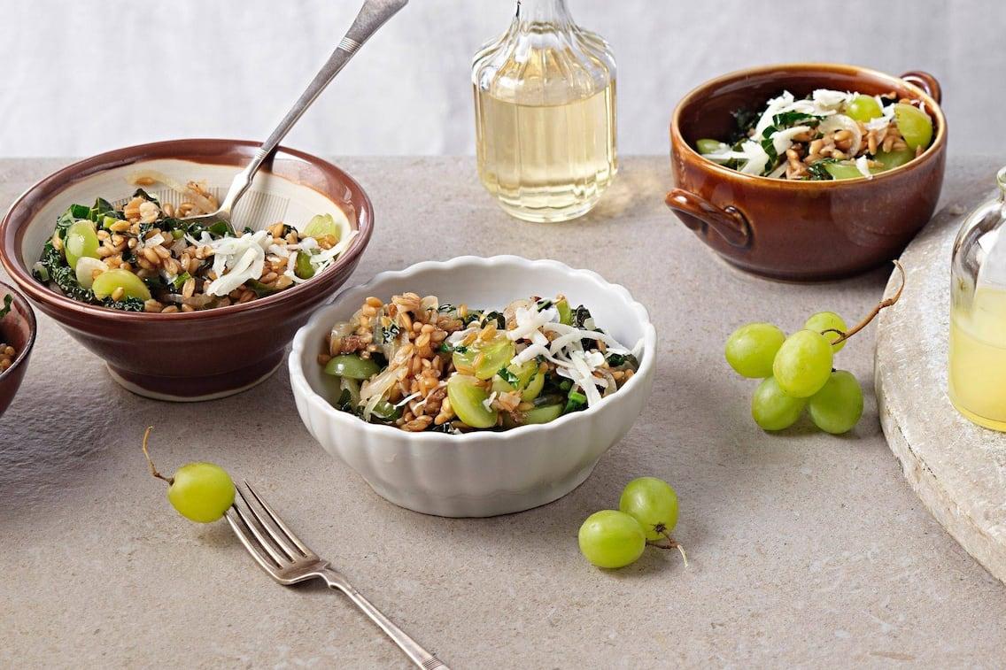 Emmerreis, Weintrauben, Schafkäse, Essig, Hauptspeise, vegetarisch, Servus Rezept