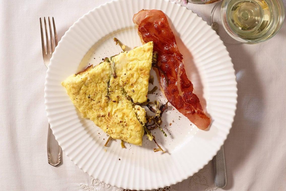 Omelette, Schinken, Wildspargel, Spargel, Rezept