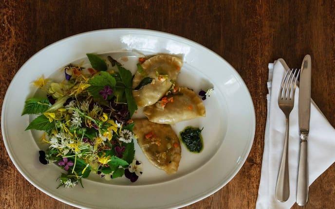Wildkräuter, Salat, Gänseblümchen, Teigtaschen, gefüllt, vegetarisch, Hauptspeise, Servus Rezept