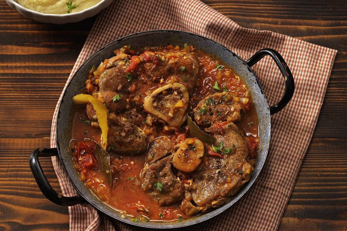Kalbshaxnscheiben, Kalb, Fleisch, Sauce, Hauptspeise, Fleischgericht, Servus Rezept