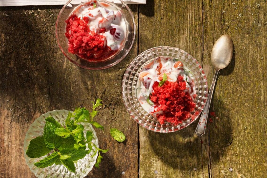 Kirschjoghurt, Joghurt mit Kirschen, Eis-Joghurt, Servus Rezept