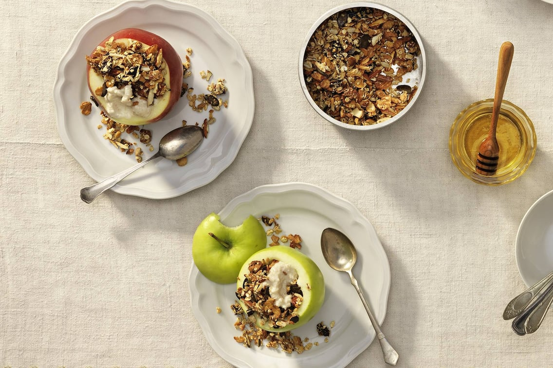 Müsli, Apfel, Honig, Joghurt, Frühstück