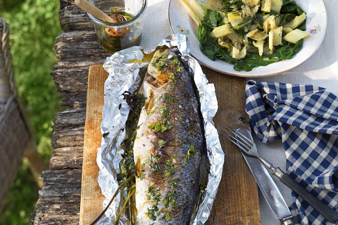 Lachsforelle, Mangold, Fisch, Servus Rezept