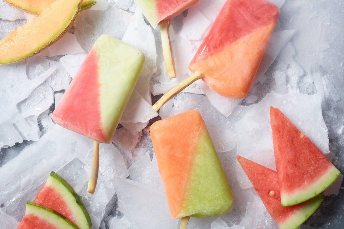 Eis, Meloneneis, Melone, Fruchteis, Zitronengras