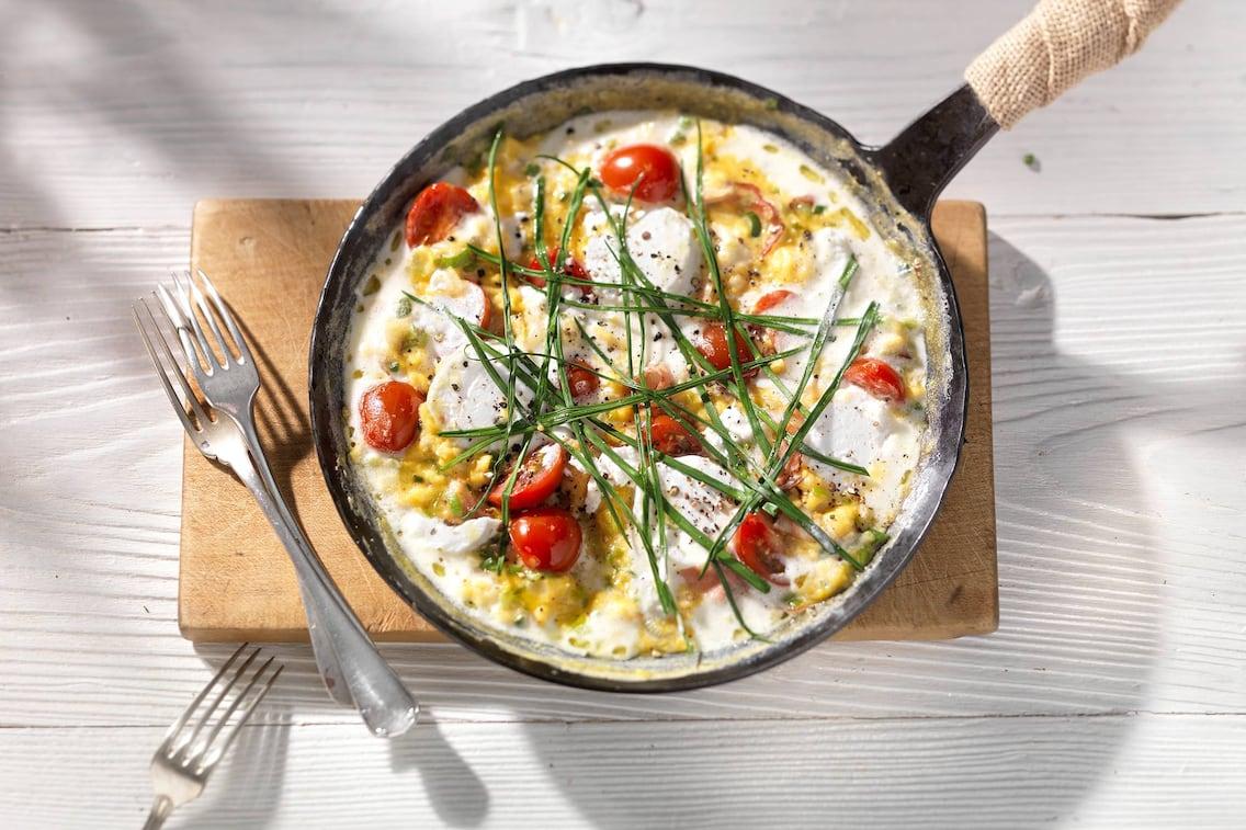 Rezept, Schnittlauch, Omelett, Ziegenfrischkäse, Obers