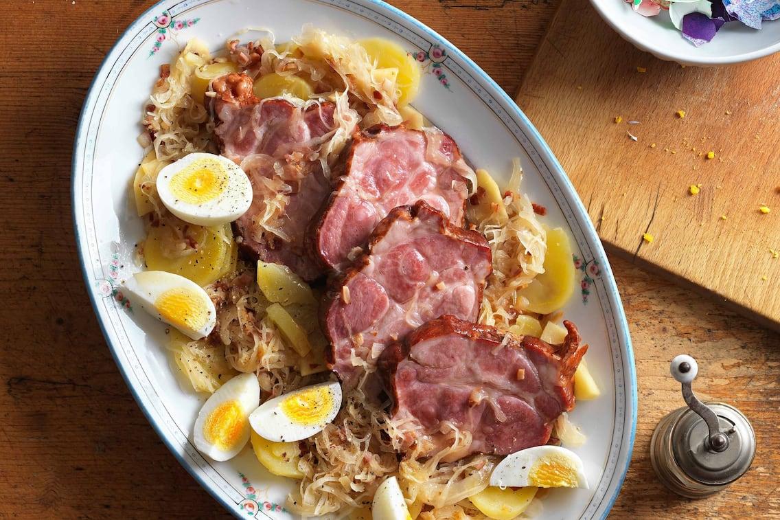 Osterschinken, Schinken, Eier, Sauerkraut, Kartoffeln, Rezept