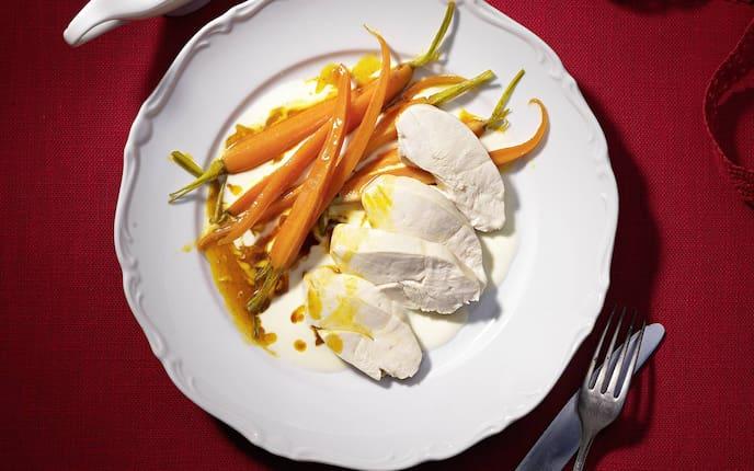 Hühnchen, Huhn, Hendl, Karotten, Möhren, Rezept
